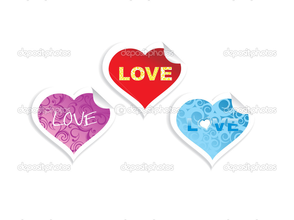 Background with set of three love stickers — Stock Vector #4881215