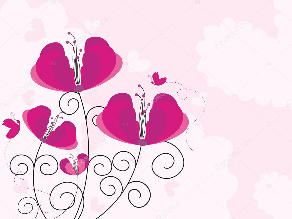 Abstract pink background with beautiful flower illustration — Stock Vector #4881220