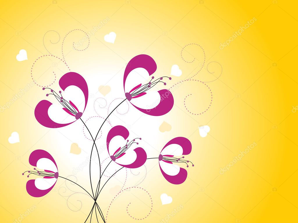 Abstract yellow hearts background with beautiful flower — Stock Vector #4881227
