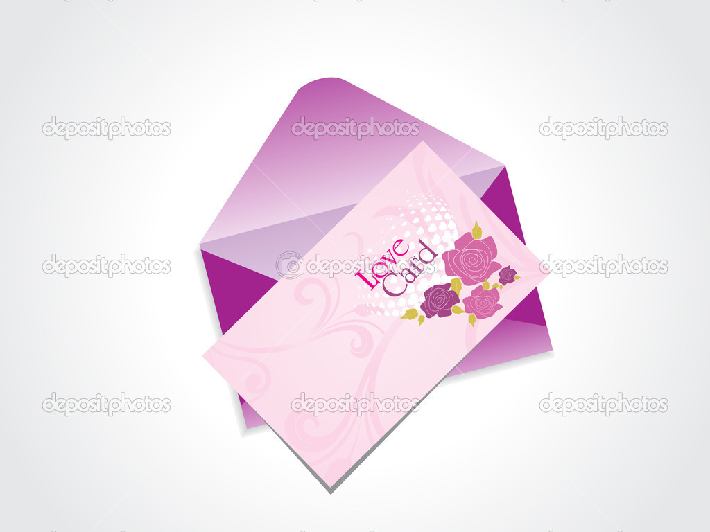 Background with isolated love card and, purple envelop — Grafika wektorowa #4881688
