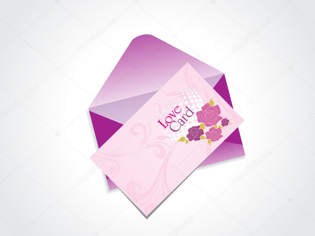 Background with isolated love card and, purple envelop — Imagen vectorial #4881688
