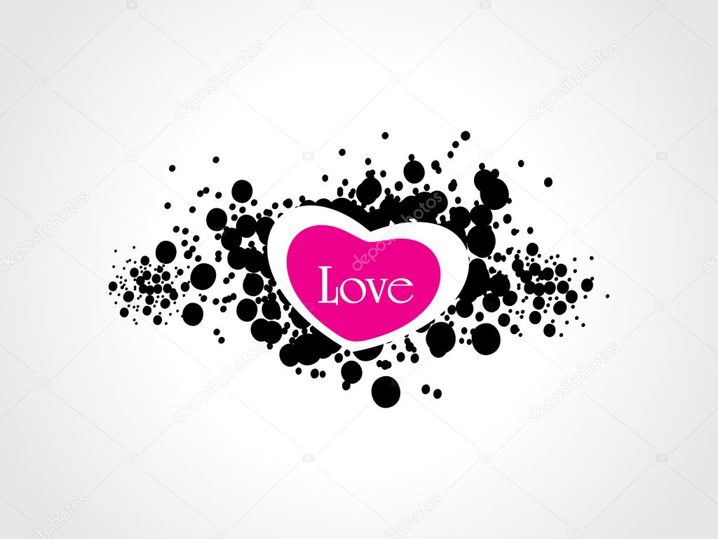 White background with black grunge, isolated heart — Vettoriali Stock  #4881703