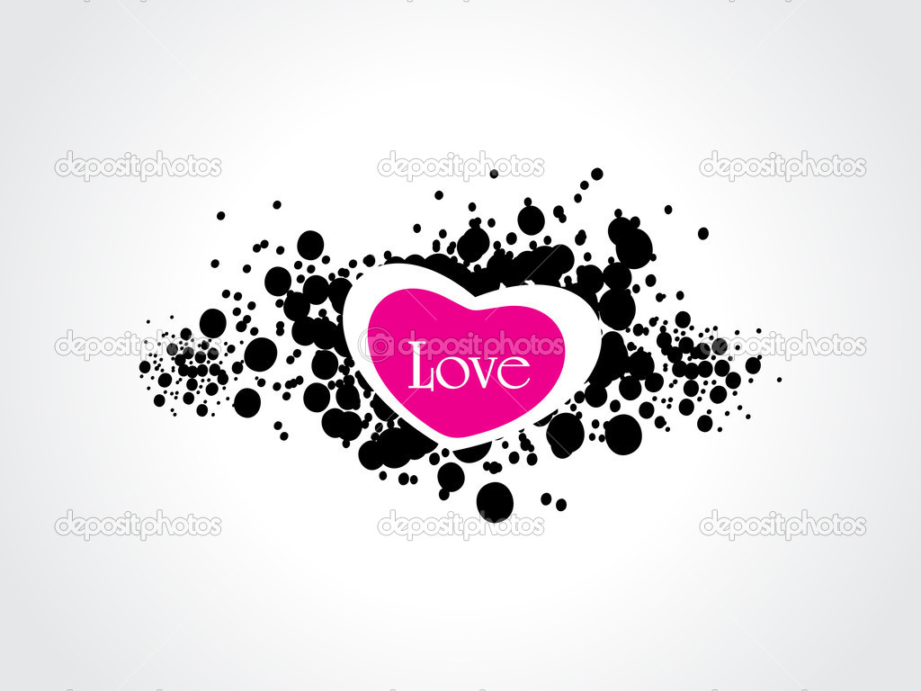 White background with black grunge, isolated heart — Stockvectorbeeld #4881703