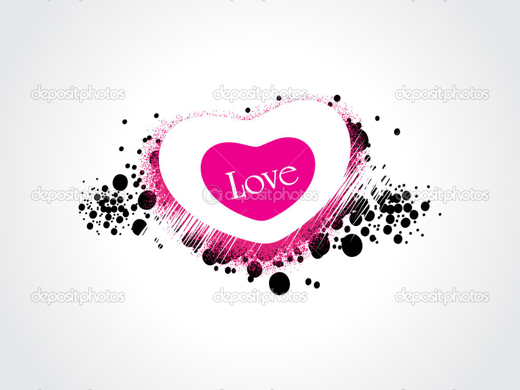 White backgorund with black grunge, isolated romantic heart — Imagen vectorial #4881746