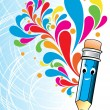 Colorful artwork with cute blue pencil — Stock Vector