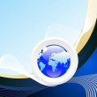 Stockvector : Wave background with isolated globe