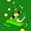 Background with girl holding shamrock, ribbon — Stock Vector #4955408