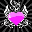 Background with wing, floral decorated pink heart — Векторная иллюстрация