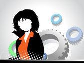 Fondo de engranajes mecánicos con mujeres empresarias — Vector de stock