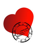 Vector stamp on romantic heart — 图库矢量图片