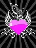 Bakgrund med vinge, blommig inredda rosa hjärta — Stockvektor
