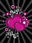 Background with floral decorated heart — Vector de stock