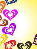 Achtergrond met kleurrijke romantische hart — Stockvector