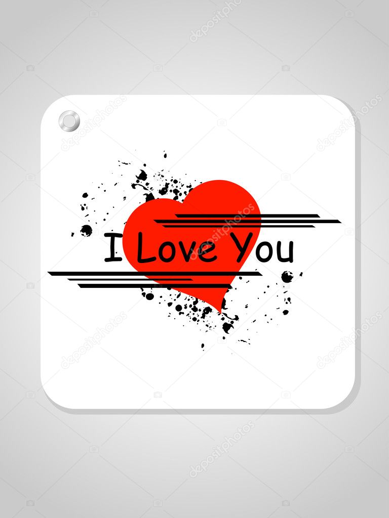 Abstract grey background with isolated grungy i love you heart note, illustration  Stock Vector #4955478