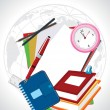 Globe background with education supplies, illustration — 图库矢量图片
