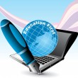 Cтоковый вектор: Education background with globe, laptop and pen