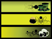 Vector set of 3 patrick day banner — Stock vektor