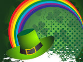 Background with rainbow and leprechaun hat — Stock Vector