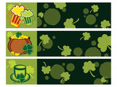 Background with set of three patrick day banner — Stock Vector