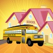 Ays background with school, school bus — Stock Vector