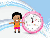 Background with pink watch, little student — Stock Vector