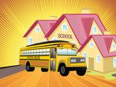 Ays background with school, school bus — Stock Vector