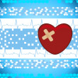 Abstract medical background with bandage heart — Vector de stock