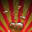 Background with romantic chocolate heart — Stock Vector #5027305