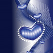 Wavy background with romantic blue heart - Stockvectorbeeld