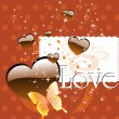 Stockvector : Background with chocolate heart, butterfly