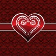 Heart pattern background with decorated heart - Векторная иллюстрация