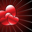 Background with romantic red hearts - Stockvectorbeeld