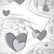Spiral background with grey hearts — Vektorgrafik