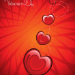Background with romantic red hearts — Stock Vector #5027725