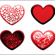 Background with set of four romantic heart - Stockvectorbeeld