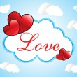 Cloudy sky background with romantic frame - Векторная иллюстрация
