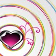 Spiral background with decorated heart - Stock Vector