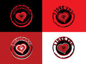 Vector set of valentine day stamp — Vector de stock