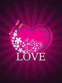 Arka plan ile izole romantik pembe kalp — Stok Vektör