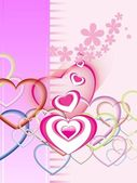 Bloom background with colorful heart — Stock Vector