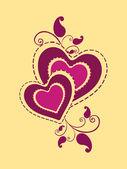 Arka çiçekli süslü kalp — Stok Vektör