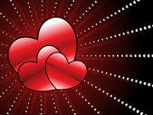 Achtergrond met romantische rode harten — Stockvector