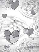 Spiral background with grey hearts — Cтоковый вектор