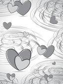 Spiraal achtergrond met grijze hart — Stockvector