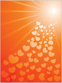 Heart coming with shiny rays — Stock Vector