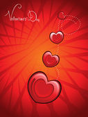 Background with romantic red hearts — Stock Vector