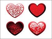 4 つのロマンチックな心のセットの背景 — ストックベクタ