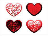 Background with set of four romantic heart — Stock Vector