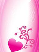 çiçek dekore edilmiş kalp ile backgorund — Stok Vektör