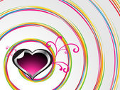 Spiral background with decorated heart — Stock Vector